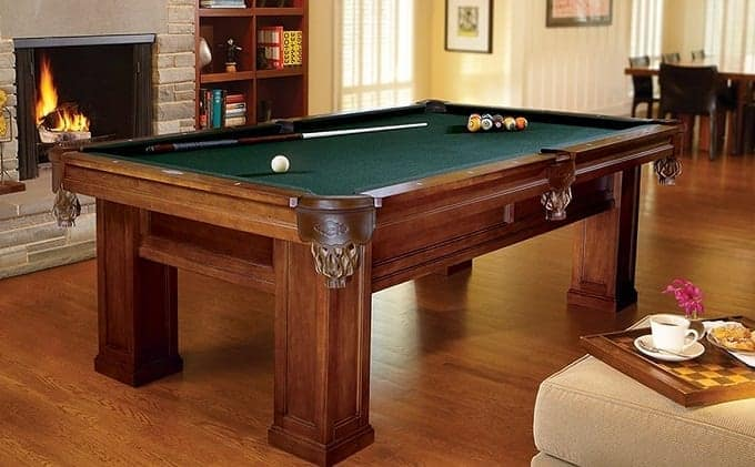 Wooden Pool Table In Living Room